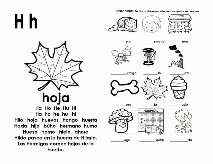 Actividades Con La Silaba Ha He Hi Ho Hu