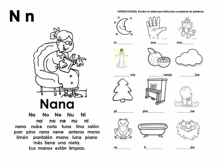 Dibujos Para Colorear Con Na Ne Ni No Nu