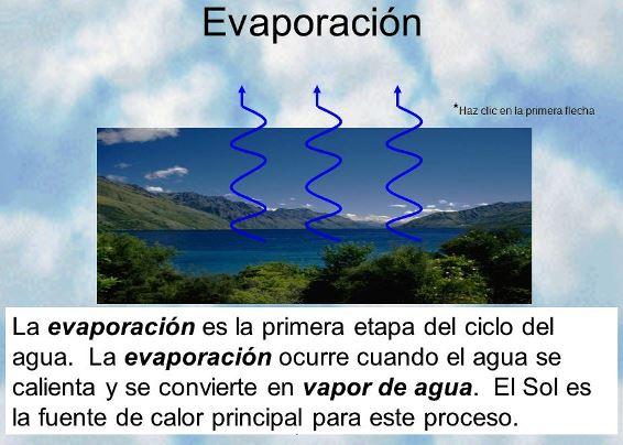 ¿Qué es la evaporación en el ciclo del agua?